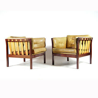 1 SOLD Retro Vintage Danish Rosewood & Leather Easy Lounge Chair Armchair 1960s