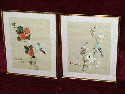 A Pair Of Vintage Hand Painted Birds On Trees  Chinese Signed Picture On Silk