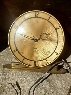Vintage Smith's Electric Art Deco Style Brass Mantel Clock needs rewired