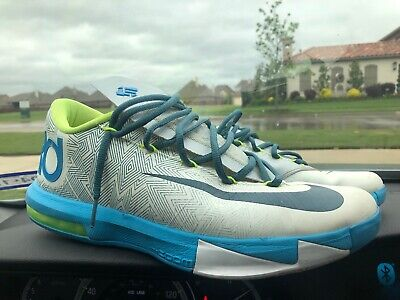 buy popular 25c29 25674 Nike Kd Vi 6 Pure Platinum Volt Vivid Blue Sz 10.5
