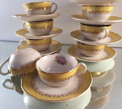 DIGOIN sarreguemines ,French VINTAGE ,1920s, COFFEE Set 8 Cups + S,FINAL REDUCN