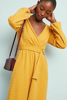 b0bba79d60ddf ANTHROPOLOGIE NWT MAEVE Malta YELLOW Dot Wrap DRESS Fit and Flare Size Large