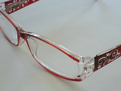 Foster Grant Red Reading Glasses Eyeglass Cord Compact Readers with Case +1.50