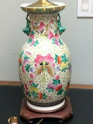 Chinese Porcelain Lamp Pomegranate & Butterfly Foo Dog/Temple Dragon Tab Handle