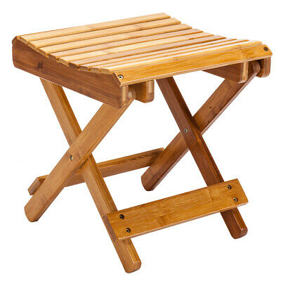 Foldable Bamboo Shower Stool Bathroom Foot Rest Chair Entryway Seat for Children