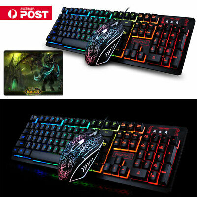 Wired Gaming Keyboard And Mouse Set Kit LED Illuminated Rainbow PS4 XBOX PC +Pad