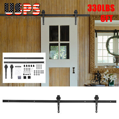 6 FT Antique American Country Style Steel Sliding Barn Wood Door Hardware New