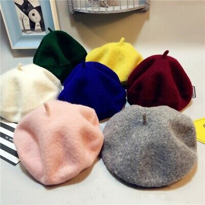 Baby Kids Girls Wool Beret Cap Fashion French Artist Woolen Soft Winter Warm Hat