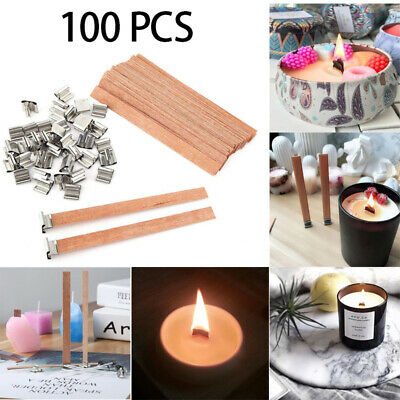 100X Wooden Candle Wicks & Wick Stickers Core Supplies Sustainer DIY Soap Making
