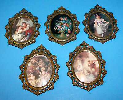 Lot of 5 Vintage Action Cheswick PA Italy Ornate Art Brass Framed Pictures