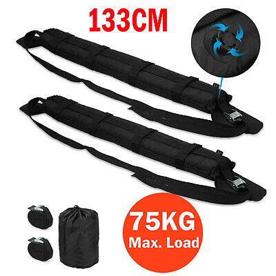 Pair Black Inflatable Kayak Car Roof Rack Soft Pad Bars Luggage Straps Universal