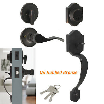 Exterior Front Entry Door Handle set Locks Oil Rubbed Bronze Lever with Deadbolt