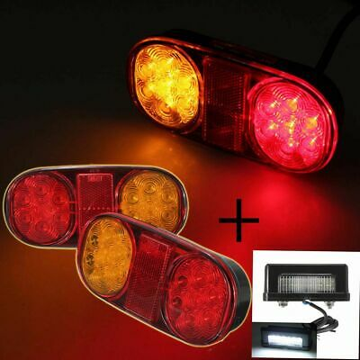 LED Tail Trailer Stop Light Submersible Indicator +Number Plate For Jet Ski Boat