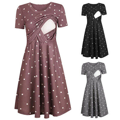 Womens Plus Size Polka Dot Maternity Swing Dress Nursing Breastfeeding Clothes