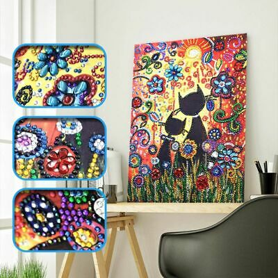 Cat Flower 5D Special Shaped Diamond Embroidery Painting Cross Stitch Kit DIY