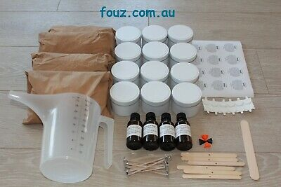 100% soy wax candle making kit, 12 white candles, wicks, fragrances, labels