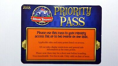 Alton Towers Fastrack Priority Pass Rare X 5 Read description