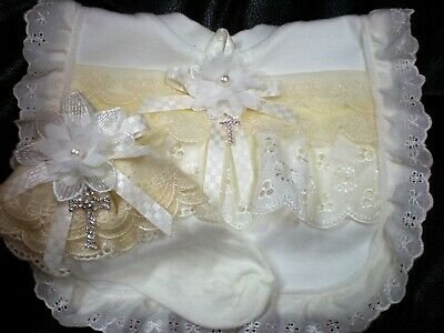 Romany Blinged  Ivory cotton and lace Baby Christening bib and socks