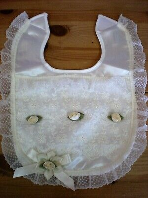 Romany Blinged Ivory Satin Lace and Rosebud Baby Christening bib