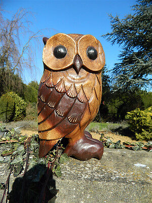Wooden Owl Carving - Hand Carved Large Standing Owl 9""