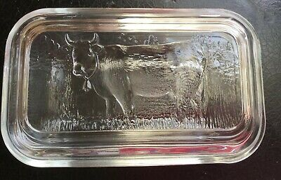 VINTAGE GLASS BUTTER/CHEESE DISH WITH COW DESIGN LID Arcoroc- FRANCE