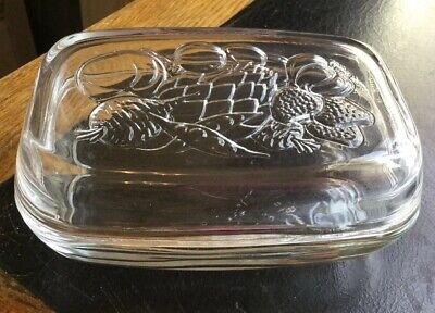 VINTAGE GLASS BUTTER/CHEESE DISH WITH Fruit & Vegetable Design Lid- FRANCE