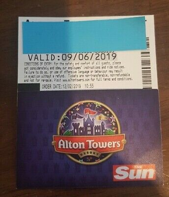 Alton Towers Resort -- X 2 Tickets - To Be Used On 9.6.2019 - Day Pass