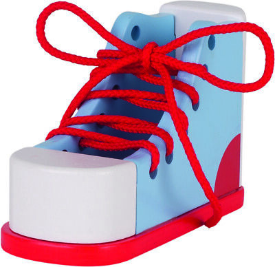 Wooden Lacing Shoe Learn To Tie Laces Educational Kids Early Learning Toy