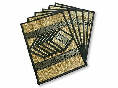 VA143 RED 12PCS WOVEN BAMBOO COTTON 6 PLACEMATS /& 6 COASTERS RECTANGLE