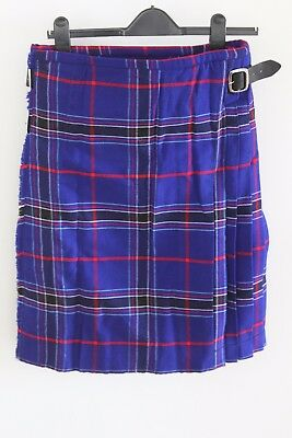 Clanncelt Designer Scottish Blue/Red 3 Buckle Kilt - Size 32