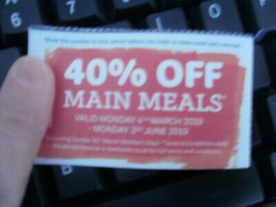 Voucher for 40% off main meals at Beefeater