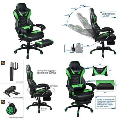 Grey Racing Video Gaming Chair High Back Adjustable Computer Office Chairs...
