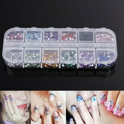 3000Pcs Rhinestones Nail Art Case Assorted Designs for Acrylic Tip UV Gel Decor