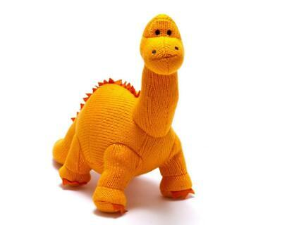 Knitted Diplodocus Dinosaur Soft Toy Suitable From Birth.
