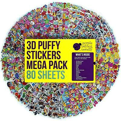 80 Different Sheets Puffy Childrens Stickers Mega Variety Pack by Purple...