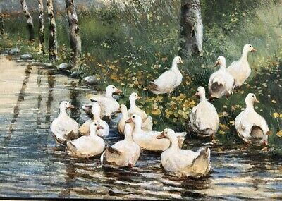 Listed Abdel Kader 1852 -1940 Sweetest Ant 1920's Painting Ducks In A Streaming
