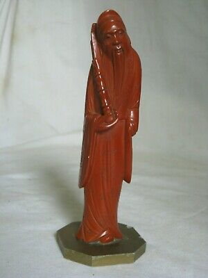 vintage Asian Oriental statue 1943 ? old man detailed Bakelite carved figure