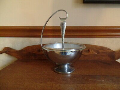 Vintage Art-Deco Ice Bucket with Claw Tongs / Hazel-Atlas Glass Bowl