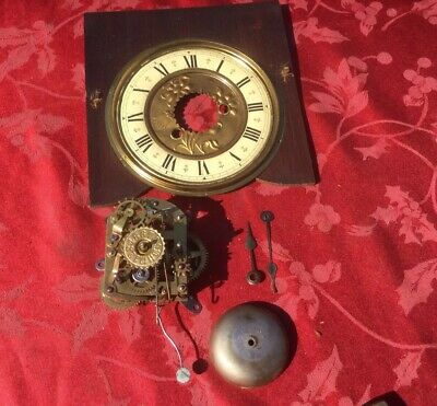 Fine Vintage American Alarm Clock Movement Dial Mask Plate And Bell Gingerbread?
