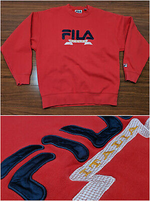 a6d518b4501 Vintage 80s 90s FILA Italia Spellout Red Embroidered Crewneck Sweatshirt  Large