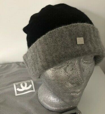 4518c68d CHANEL Black Grey Cashmere Sport Ligne beanie with CC Pin One Size Men Or  Women