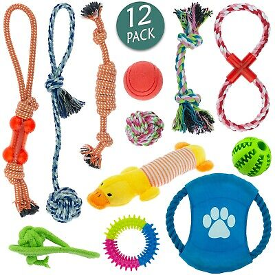 Dog Toy Pet Puppy Play Chew Braided Cotton Rope Frisbee Bundle Job lot Pack 12