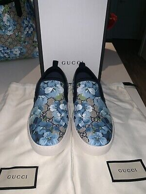 7709d3d80 Gucci Bloom Flower Print Blue GG Supreme Coated Canvas Slip Sneakers Size  :7-7.5