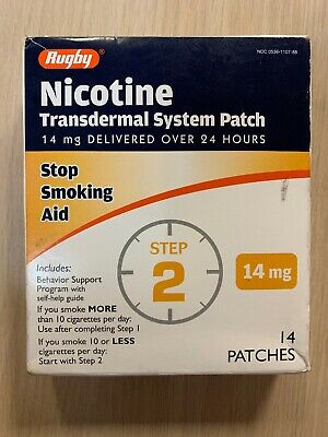 STEP 2 Rugby Stop Smoking Aid EXP 01/2020 Nicotine Transdermal 14 Patches