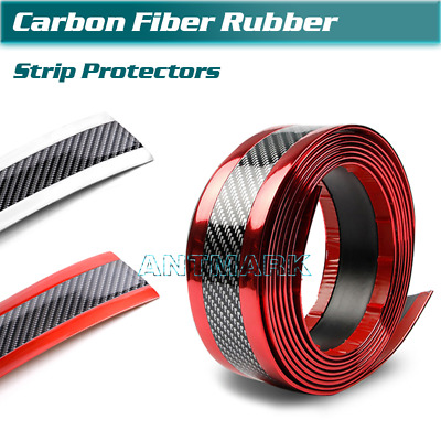 Car Carbon Fiber Sticker Rubber Body Door Sill Bumper Strip Edge Guard Protector