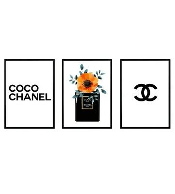 Coco Chanel Print, Poster, Wall Art, Digital Prints, Home Decor, Perfume, 3x A4