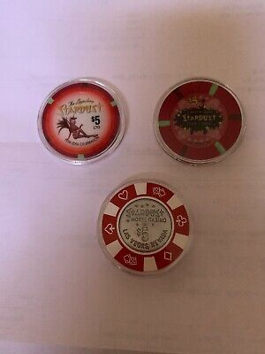 Lot Of 3 STARDUST HOTEL $5 Casino Chip Las Vegas Nevada