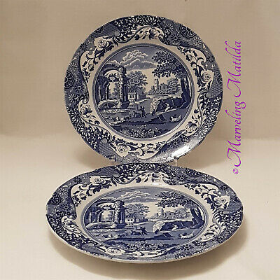 "Vintage - Spode (UK) Italian [Blue/White] Dinner Plates 10 1/2"" - Set of 2"