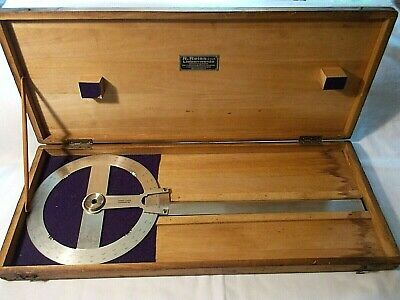 Vintage R. Reiss Drafting & Engineering 360 Degree Protractor Wood Case G.m.b.H.