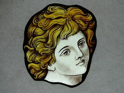 Beautiful Stained glass.HEAD.Hand painted.Kiln fired.140 x130 mm.Antique style.